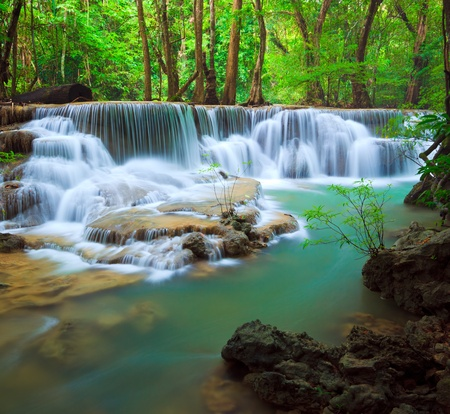Deep forest Waterfall, Kanchanaburi, Thailand photo