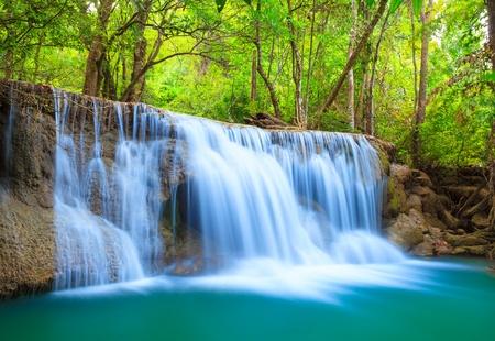 Deep forest Waterfall, Kanchanaburi, Thailand photo