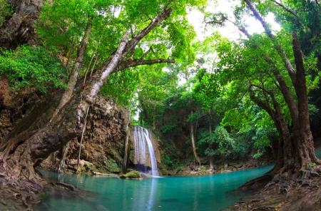 Erawan Waterfall, Kanchanaburi, Thailand Banco de Imagens - 13828541