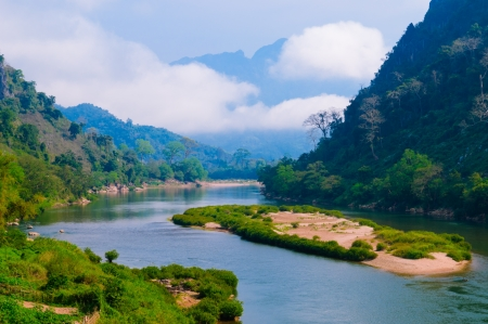 Nong khiaw river, Northern of Laos Banco de Imagens - 13828523