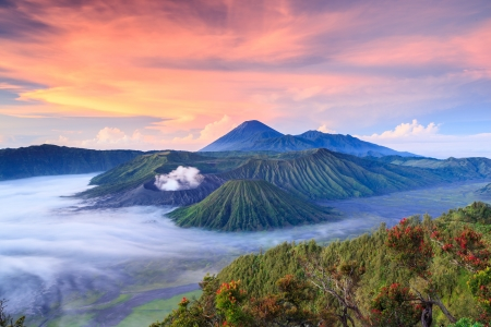 caldera: Bromo vocalno at sunrise, East Java, , Indonesia Stock Photo