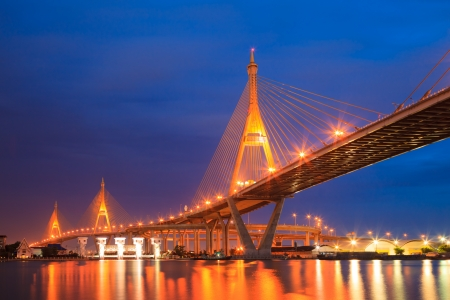 Bhumibol Mega Bridge  Industrial Ring Mega Bridge  at night, Bangkok, Thailand photo