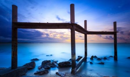 water scape: Seascape of pattaya beach at sunset, Chonburi, Thailand