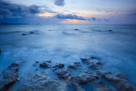 Seascape of pattaya beach at sunset, Chonburi, Thailand photo