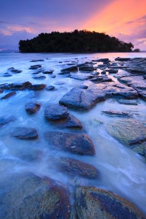 klong: Seascape of Klong muang beach at sunset, Krabi, Southern of Thailand