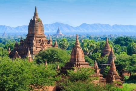 world heritage site: The Temples of bagan at sunrise, Bagan Pagan , Myanmar Stock Photo