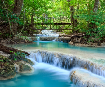 Erawan Waterfall, Kanchanaburi, Thailand Stock Photo - 24570002