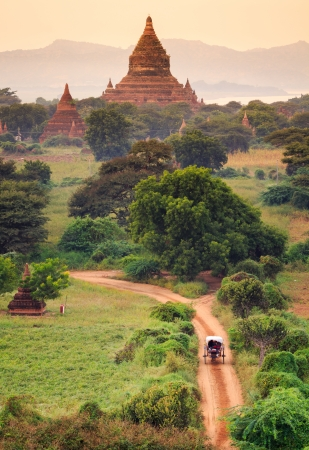 The Temples of bagan at sunrise, Bagan Pagan , Myanmar photo