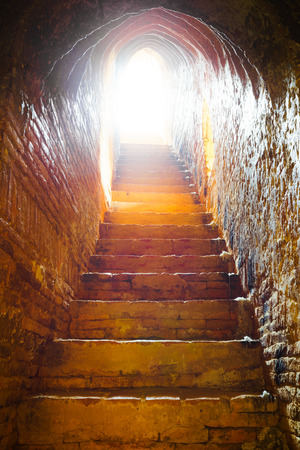 light at the end of the tunnel: light at end of tunnel in castle, Bagan, Myanmar