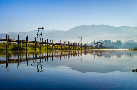 Maing Thauk  Wooden Bridge, Inle Lake, Shan State, Myanmar  photo