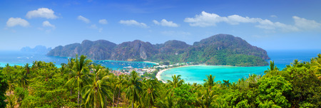 Phi: Panorama of Phi phi island viewpoint, Krabi, Southern of Thailand