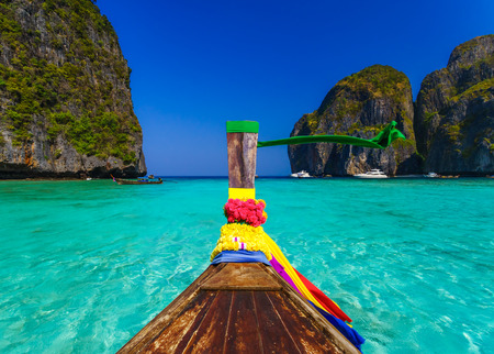 Traditional longtail boat in Maya bay on Koh Phi Phi Leh Island, Krabi, Southern of Thailand
