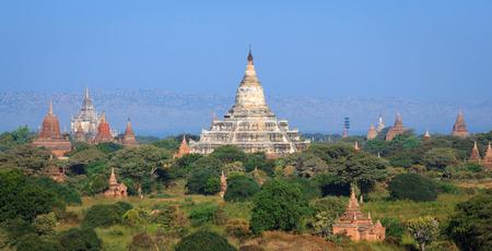 pano: Panorama the  Temples of bagan at sunrise, Bagan Pagan , Myanmar Stock Photo