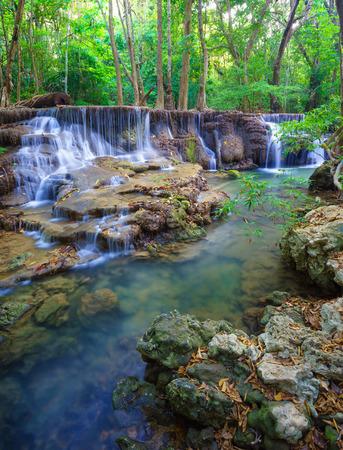 kanchanaburi: Deep forest Waterfall in Kanchanaburi province, Thailand Stock Photo