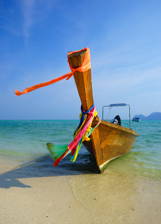 Traditional longtail boat on Koh Phi Phi Leh Island, Krabi, Southern of Thailand photo