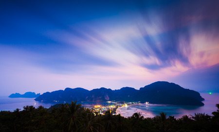 Phi phi island at twlight, Krabi, Southern of Thailand photo