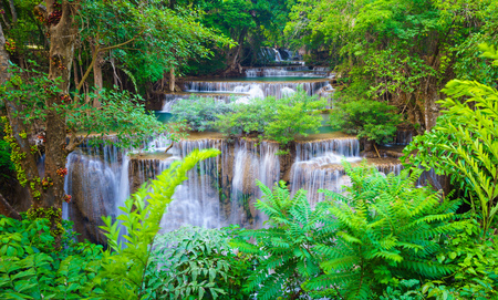 Deep forest Waterfall in Kanchanaburi, Western of Thailand Banco de Imagens