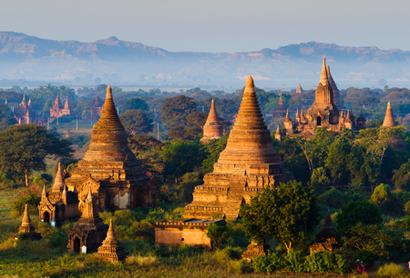 The plain of Bagan Pagan in Mandalay, Myanmar photo