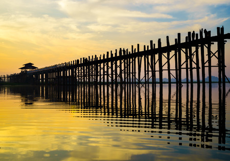 Ubein Bridge at sunrise in Mandalay, Myanmar