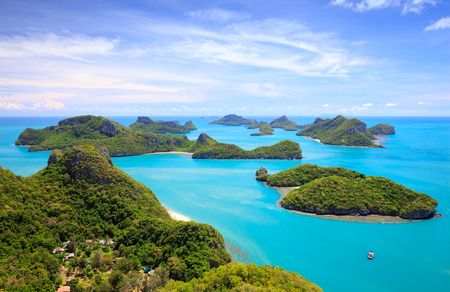 Bird eye view of Angthong national marine park, koh Samui, Suratthani, Thailand 免版税图像