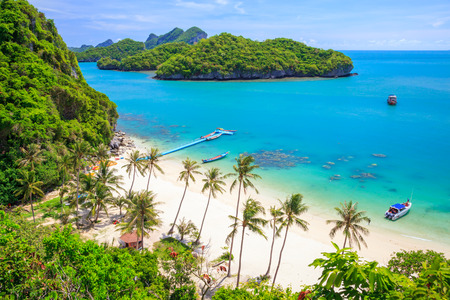 Bird eye view of Angthong national marine park, koh Samui, Suratthani, Thailand 版權商用圖片