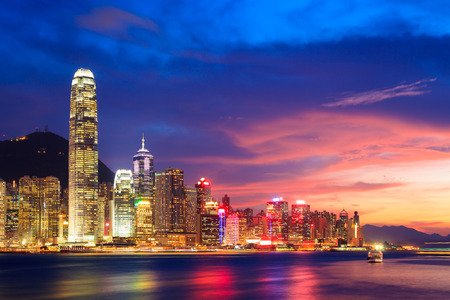 Hong Kong skyline at night, China Imagens