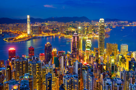 Hong Kong skyline at night, China photo