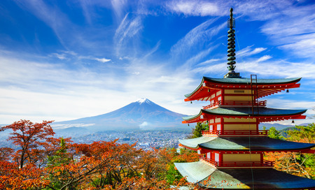 temple tower: Mt. Fuji with Chureito Pagoda in autumn, Fujiyoshida, Japan Stock Photo