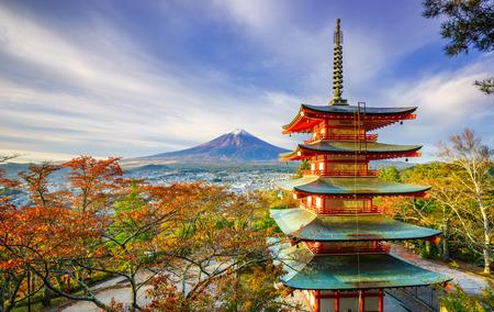 Mt. Fuji with Chureito Pagoda at sunrise in autumn, Fujiyoshida, Japan