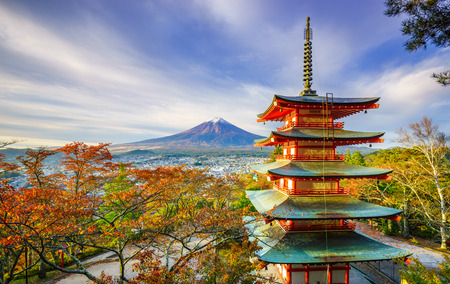 Mt. Fuji with Chureito Pagoda at sunrise in autumn, Fujiyoshida, Japan Banco de Imagens - 34612802