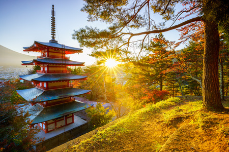 Chureito Pagoda with sun flare, Fujiyoshida, Japan