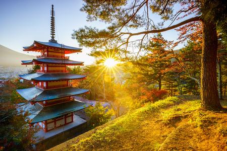 japan sunset: Chureito Pagoda with sun flare, Fujiyoshida, Japan