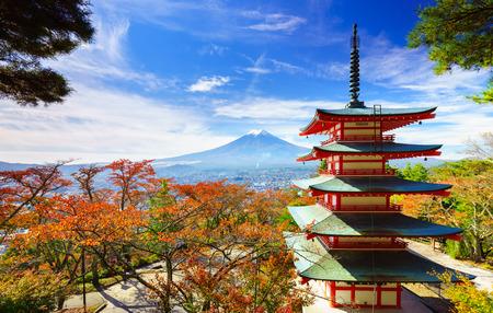 mt: Mt. Fuji with Chureito Pagoda in autumn