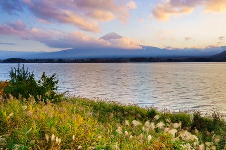Mt.Fuji with Lake Kawaguchiko at sunset, Japan