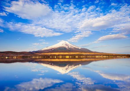 Mt.Fuji with Lake Yamanaka reflection at sunrise, Yamanashi, Japan