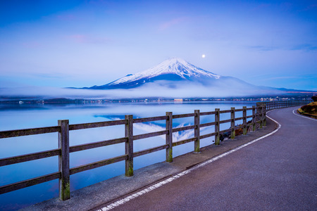 Path to Mt.Fuji at moonrise, Yamanaka lake, Yamanashi, Japan Stock Photo