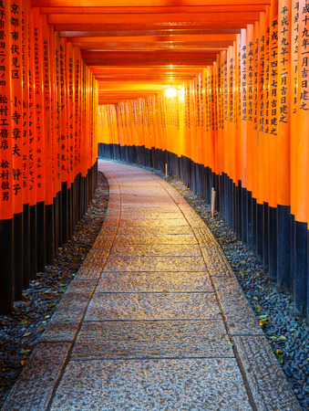 Torii gates in Fushimi Inari Shrine, Kyoto, Japan Editorial