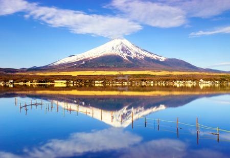 山梨県の山中湖と富士山