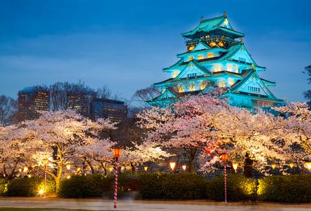 osaka: Osaka castle at night cherry blossom season Osaka Japan