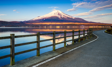 Road to Mt.Fuji with Lake Yamanaka Yamanashi Japan