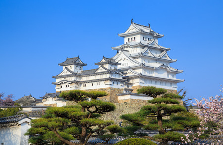 castle tower: Himeji Castle in spring cherry blossom season, Hyogo, Japan Stock Photo