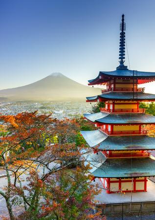Mt. Fuji with Chureito Pagoda in autumn, Fujiyoshida, Japan Editorial