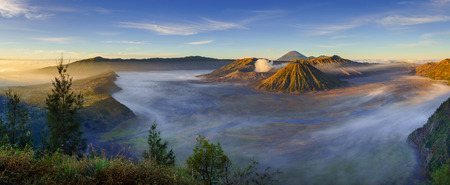 panorama: Bromo volcano at sunrise,Tengger Semeru national park, East Java, Indonesia