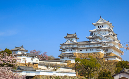 osaka: Himeji Castle in spring cherry blossom season, Hyogo, Japan Editorial