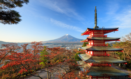mt: Mt. Fuji with Chureito Pagoda at sunrise in autumn, Fujiyoshida, Japan