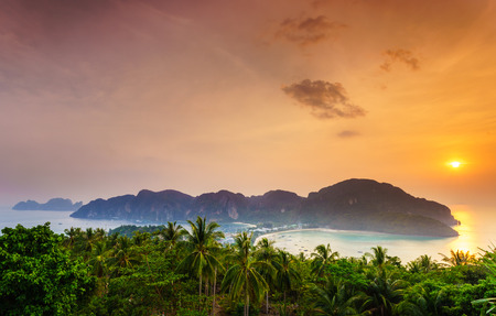 Phi phi island at sunset, Southern of Thailand Stock Photo