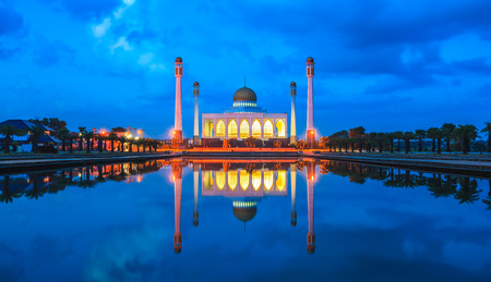 asian architect: Songkhla Central Mosque at twilight,Hatyai, Songkhla, Thailand Editorial