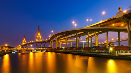 city landscape: Bhumibol Mega Bridge (Industrial Ring Mega Bridge) at night, Bangkok, Thailand