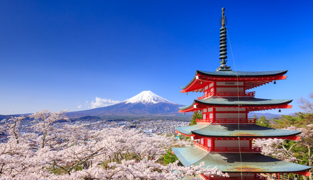 Mt. Fuji with Chureito Pagoda in Spring, Fujiyoshida, Japan Stok Fotoğraf - 58004020