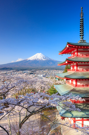 Mt. Fuji with Chureito Pagoda in Spring, Fujiyoshida, Japan Stock Photo - 59692537